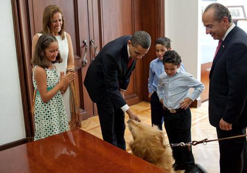 Obama saluda hasta al perro